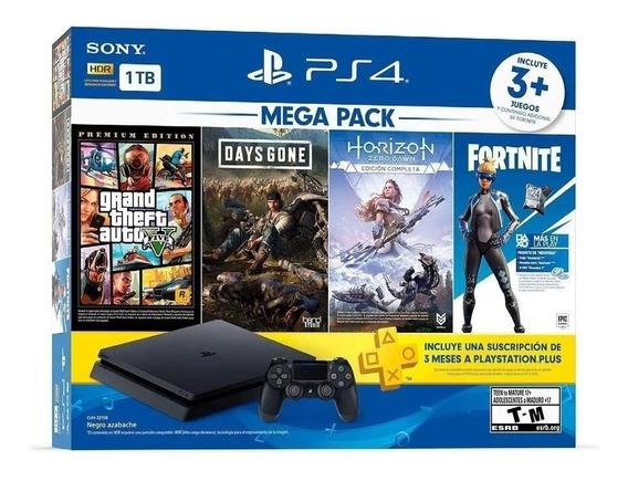Ps4 Slim 1tb Playstation 4 Mega Pack 3 Jogos Envio Já