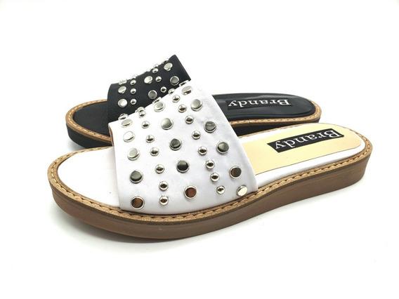 Zapatos Zuecos Cuero Tachas Bajos Mujer Moda 2019 1001