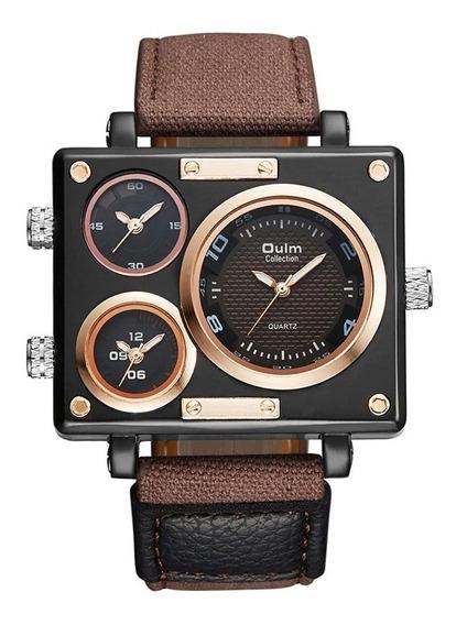 Relógio Masculino Oulm Couro Big Xxl Quadrado Original Olum