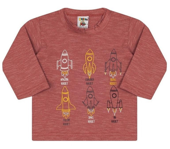 Camiseta Molekada Manga Longa Marrom Mescla Foguete