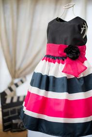 Vestido De Festa Infantil Listrado Tamanhos 08 E 10 Anos