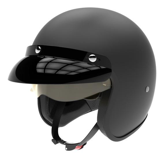Casco Moto Hawk 721 Abierto Vintage Negro Mate Oficial