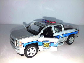 Carrinho Coleção Caminhonete Polícia Silverado Prata