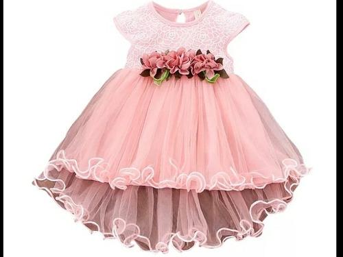 Vestido Elegante Bebé Niña Bautizó O Fiesta . Aplique Flores