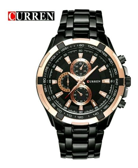 Relógio Preto Masculino Curren De Aço Inoxidável Promoção