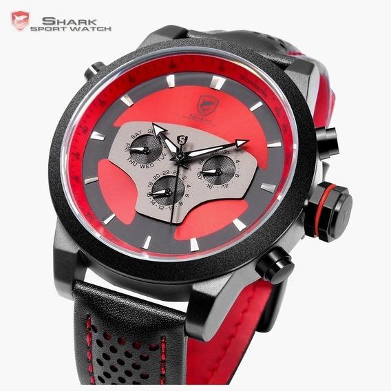 Relógio Shark Original Masculino Vermelho Ferrari Style