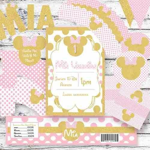 Kit Imprimible Minnie Dorado Rosa