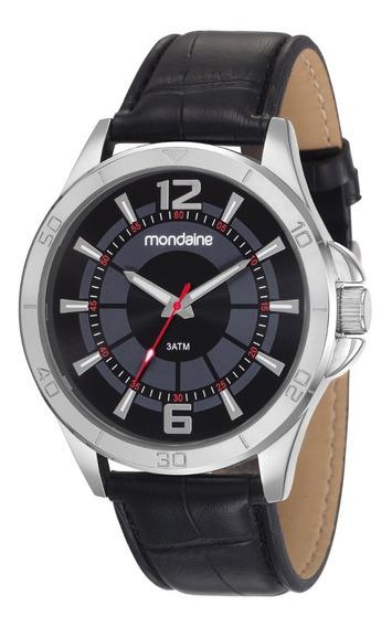 Relógio Mondaine Masculino Analógico Couro Preto Original