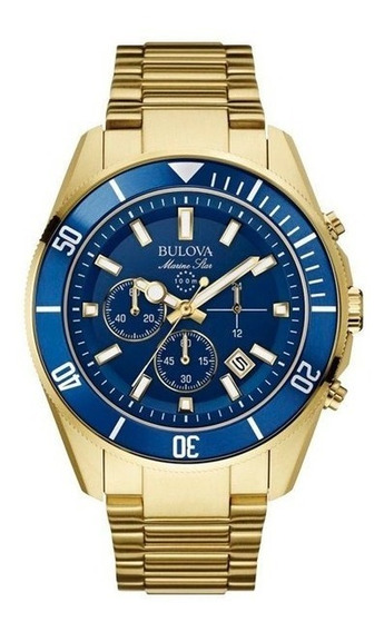 Relogio Bulova Masculino Marine Star Wb31774z 98b239 Dourado