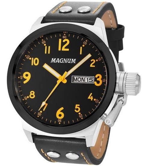 Relógio Masculino Magnum Prateado Pulseira Couro Ma32774j.