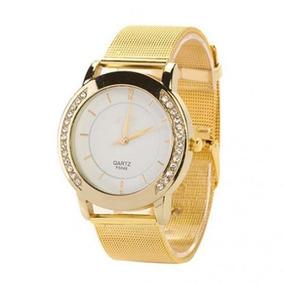 Relógio Dourado Feminino Confortável Quartz Com Caixa