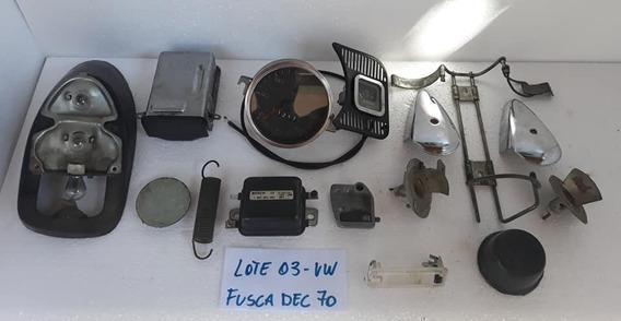 Lote Peça Fusca Antigo Dec 70 Velocimetro Espelho Apoio Etc