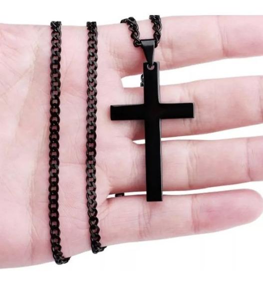 Cordão Corrente Colar Crucifixo Cruz Pingente Preto