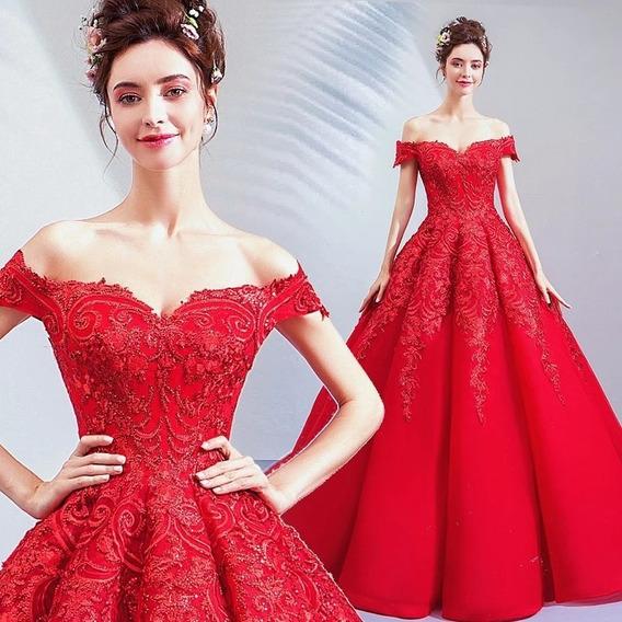 Vestido De Xv Años Rosa Rojo Lentejuela Satin Ale-190507002