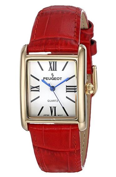 Reloj Peugeot Dress 26mm Acero Piel Rojo Mujer 3036rd