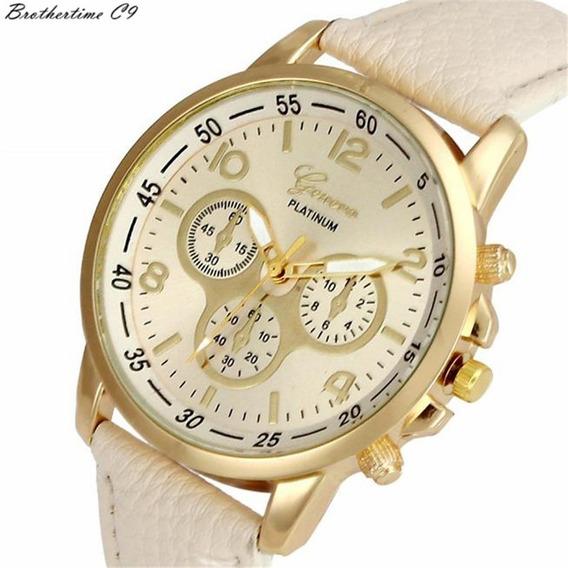 Relógio Feminino Dourado! Geneva + Colar E Brincos - 12x
