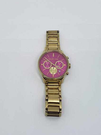 Relógio Michael Kors Mk5909 Runway Pink Dourado Original