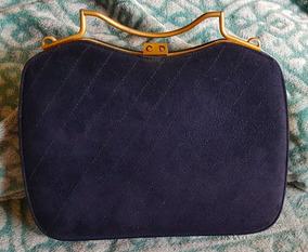 Bolsa Antiga Vintage Cristian Dior Original Camurça Azul
