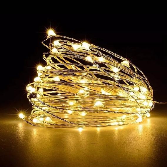 Fio Fada Prata Cobre Cordão Luz Cores Natal 5m 50 Leds Pilha