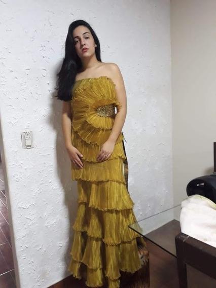 Vestido Camadas Festa Gold Longo Tamanho Unico