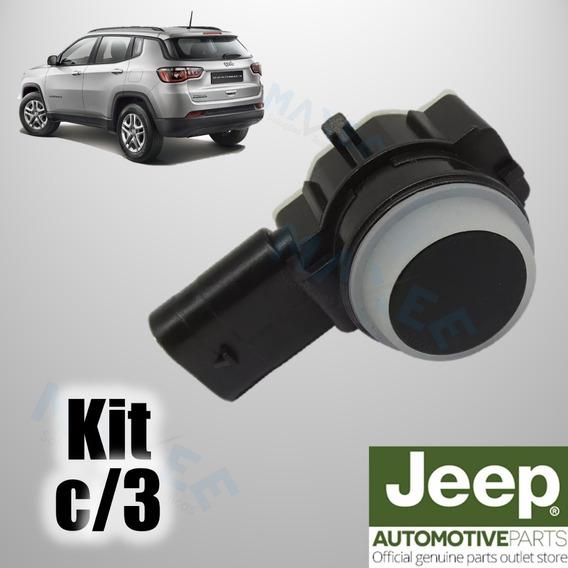 Kit Com 3 Sensor De Ré Estacionamento Jeep Compass Renegade