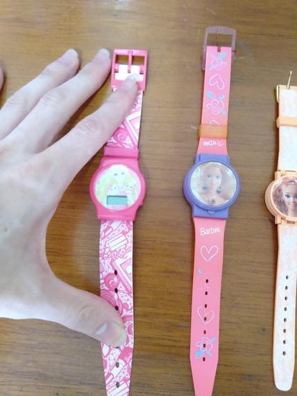 Lote Relógio Infantil Barbie Antigo Estrela Corações Mágicos