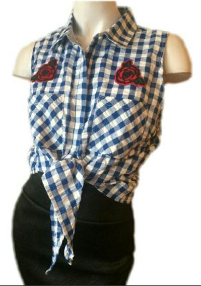 Camisa Escocesa Crop Top Sexy Talles Pin Up Vintage Folk