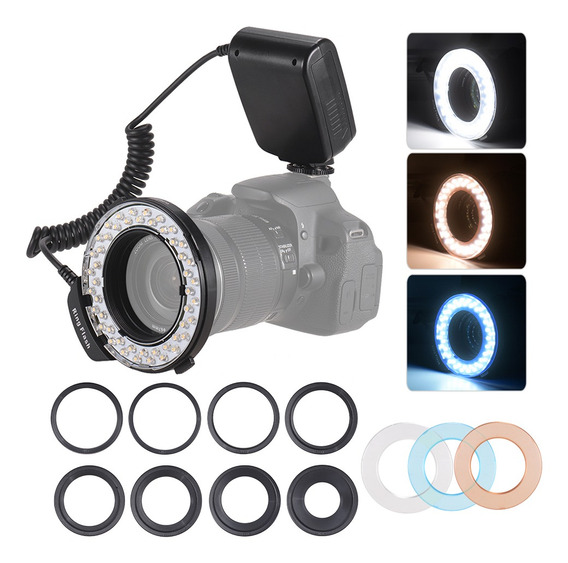 Hd-130 Macro Led Anel Flash Light Display Lcd 3000-15000k