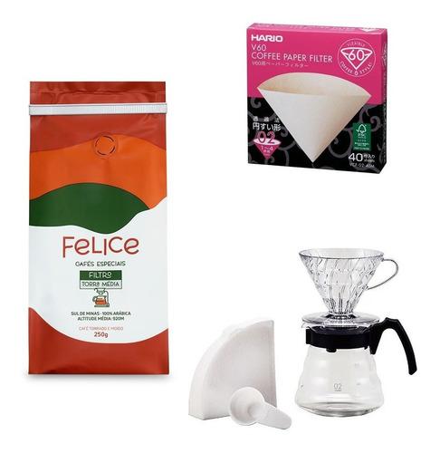 Café Felice Moído 250g +conjunto V60+filtro Hario N°02 40und