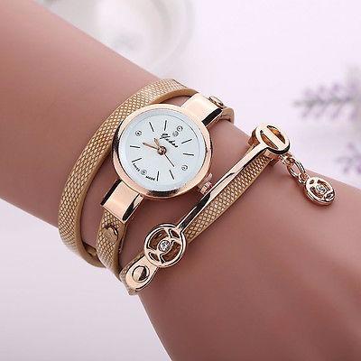 Relógio Pulseira Feminino Dourado Importado Couro Ecológico
