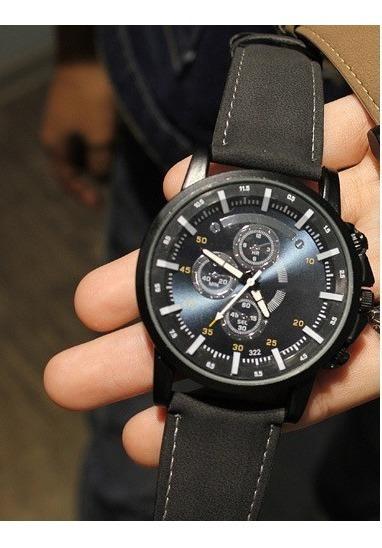 Relógio Importado Yazole Japonês Em Couro Masculino