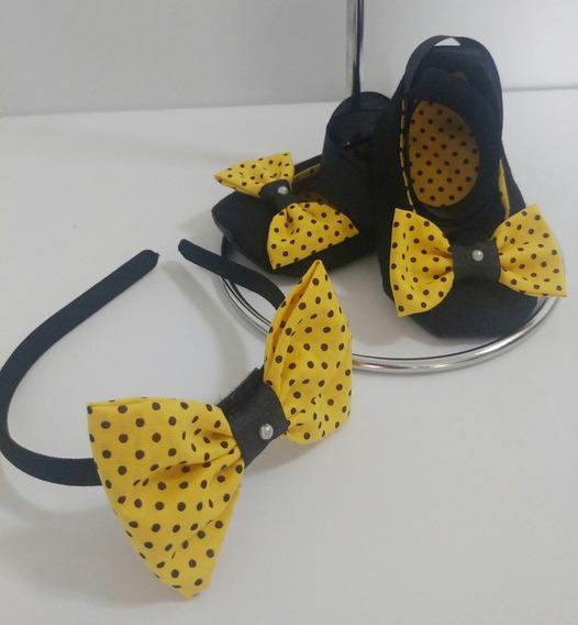 10 Kit De Sapatinho Minnie + Tiara / Sapato Minnie Revenda