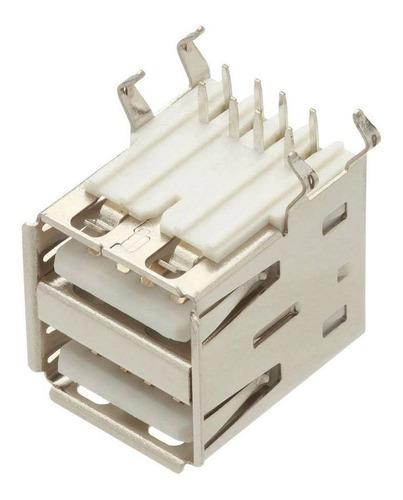 Imagem 1 de 3 de 5 Unidades Conector Usb A Fêmea Duplo Yh-usb02