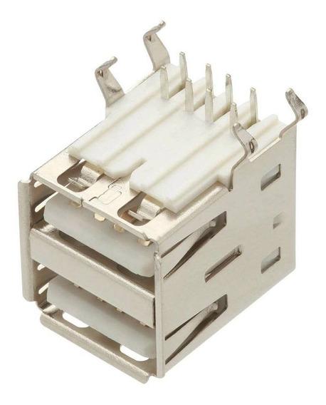 5 Unidades Conector Usb A Fêmea Duplo Yh-usb02