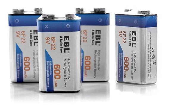 4 Pilas Recargables 9v 600mah Alta Capacidad Baterias Nuevas