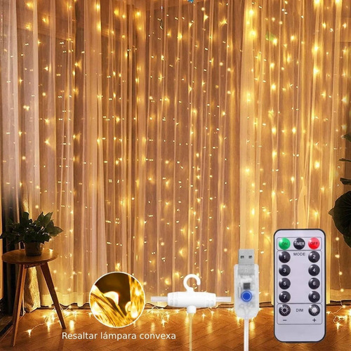 Cortinas Decorativas Luz Led Control Remoto 300 Leds 3x3m