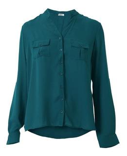 Camisa De Chifon Com Gola Padre E Bolso 2499