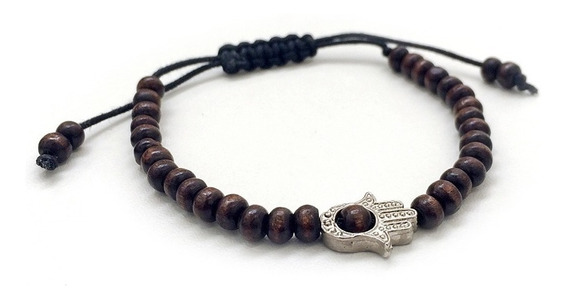 Pulseira Masculina Feminina Bracelete Pedra Hamsa Preta