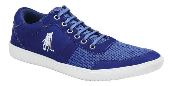 Tênis Polo Club Masculino Em Nylon Com Couro Natural Azul