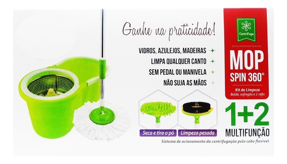 Kit Balde Spin Mop Centrifuga Em Inox 3 Em 1 Com 3 Esfregoes
