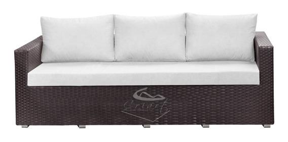 Sofá De 3 Lugares + 1 Poltrona Em Fibra Sintética Alumínio