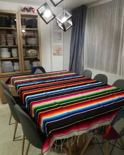 Mantel Mesa Mexicano Redondo Cuadros Original  200 Cm