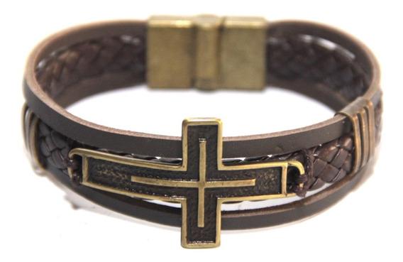 Pulseira Bracelet Masculino Couro Fecho Magnético Sob Medida