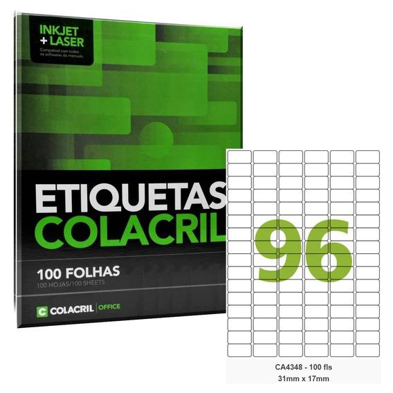 Etiqueta Adesiva A4 Ca4348 31x17 Mm 100 Fls Colacril