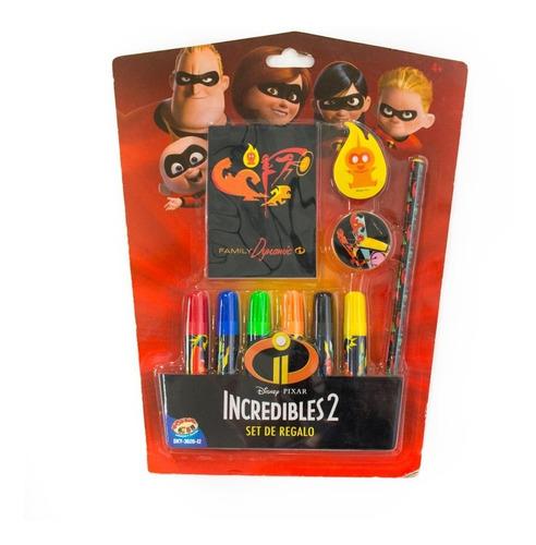 Set De Regalo Incredibles 2 Para Niños Escolar Útiles