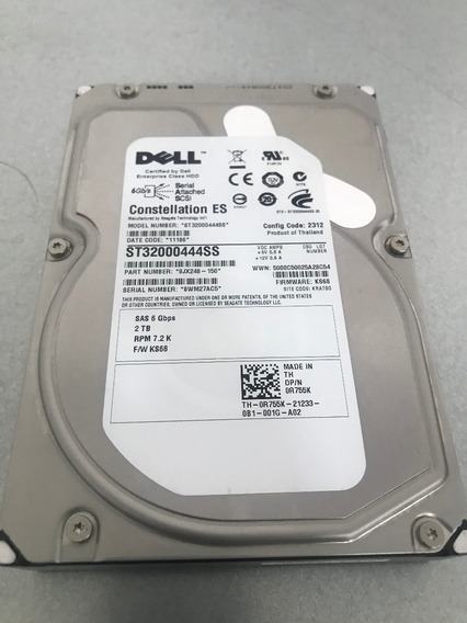 Dell Hd Sas 2tb 7.2k 6gbs 3.5 0r755k