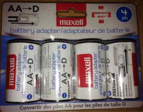 Adaptador De Baterias Aa A D Maxell