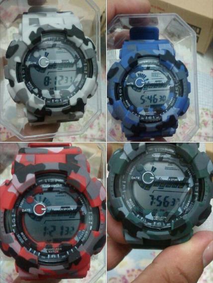 Relógio Masculino Camuflado Digital Militar Barato Antishock