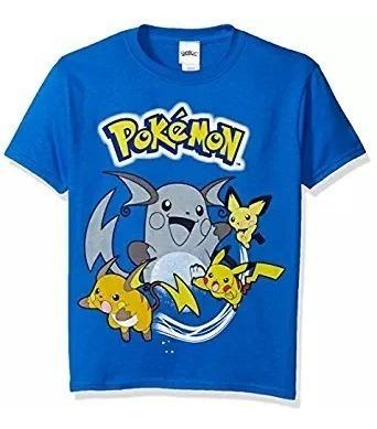 Camiseta De Manga Corta Grupo Pokemon Con Pikachu