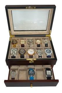 Estuche De Exhibicion De Caja De Reloj De Ebano Madera De No